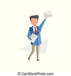 debout, concept, travail, business, vecteur, dessin animé, papier, sien, illustration, fond, routine, homme affaires, blanc, mains, documents, bureaucratie