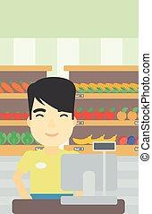 debout, contrôle, caissier, supermarket.