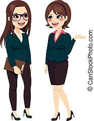 debout, conversation, femmes affaires