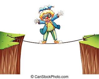 debout, corde, clown