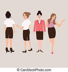 debout, corps, affaires femme, isolé, entiers, femme