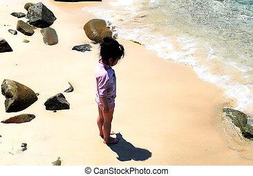 debout, corps, plage., elle, sur, sable, ombre, girl