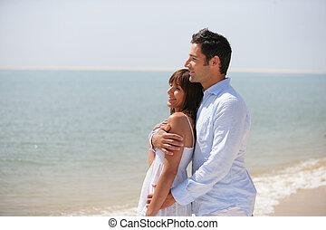 debout, couple, plage