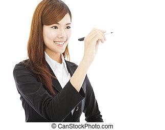 debout, crayon, affaires femme, tenue, sourire