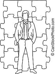 debout, croquis, griffonnage, puzzle, puzzle, lignes, isolé, illustration, main, vecteur, arrière-plan noir, homme affaires, devant, dessiné, blanc