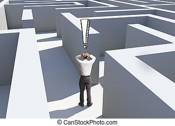 debout, désespéré, homme affaires, labyrinthe, vue...