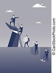 debout, développement, concept, groupe, business, point, carrière, grand, businesspeople, main, doigt, homme affaires, éditorial, homme
