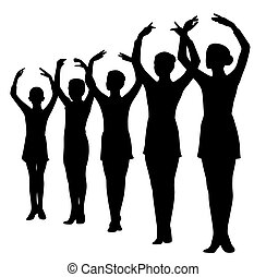 debout, danseurs ballet, mains élevées, rang