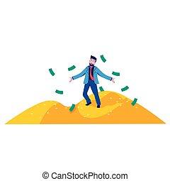 debout, dessin animé, business, montagne, or, vecteur, illustration, pièces, homme, riche, plat