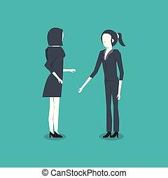 debout, deux, femmes affaires