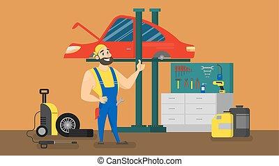 debout, devant, rouges, mécanicien, voiture