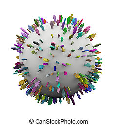 debout, différent, coloré, gens, sphère, 3d