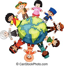 debout, différent, ensemble, culture, tenant mains