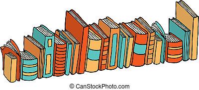 debout, différent, /, livres, bibliothèque, pile