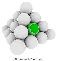 debout, différent, pyramide, balle, vert, unique, spécial, dehors