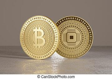 debout, doré, crypto-currency, concept, financier, bitcoins,...
