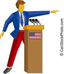 debout, drapeau etats-unis, orateur, podium., homme, rostrum