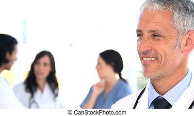 debout, droit, équipe, ensemble, monde médical