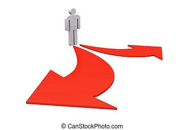 debout, droit,  Business,  destination, choix, gauche