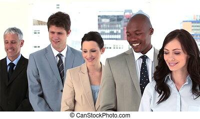 debout, droit, travail, ensemble, équipe