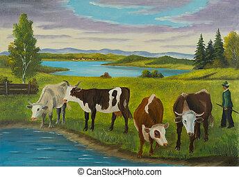 debout, eau, vaches, boisson, plusieurs