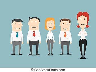 debout, elle, business, patron, femme, équipe