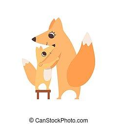 debout, enfant, concept, famille, elle, chaise, renard, animaux, étreindre, parenting, vecteur, illustration, mère, aimer, heureux