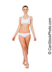 debout, entiers, healthy., isolé, jeune, longueur, femme, séduisant, blanc, culotte, soutien gorge