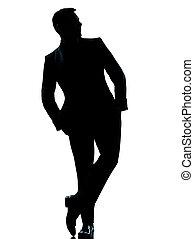 debout, entiers, silhouette, business, isolé, une, poche, longueur, studio, fond, mains, caucasien blanc, homme