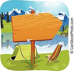debout, entrée, bois, camping, illustration, planche, vide