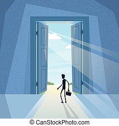 debout, entrée, silhouette, business, porte, noir, homme ...
