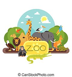 debout, entrance., animaux, zoo