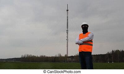 debout, espion, reveil, masque, veste, noir, tour, radio, homme