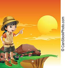 debout, explorateur, femme, falaise
