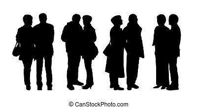 debout, extérieur, gens, 28, silhouettes, ensemble