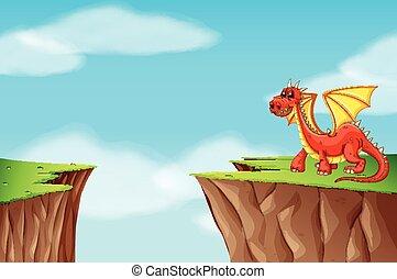 debout, falaise, rouges, dragon
