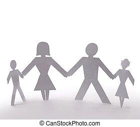 debout, famille, gens, quatre, tenant mains, coupure