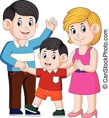 debout, famille, jeune, ensemble, enfant, heureux