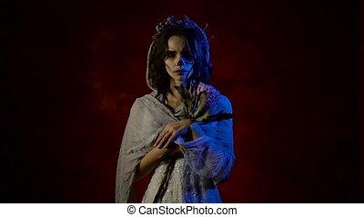 debout, fantôme, femme, fantôme, elle, haut, figure, face., ...