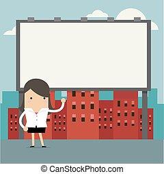 debout, femme affaires, grand, devant, billboard.