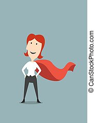 debout, femme affaires, héros, cap rouge