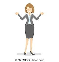 debout, femme affaires, projection, haut, pouces, complet