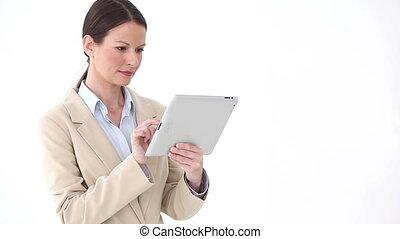 debout, femme affaires, quoique, ebook, utilisation