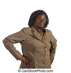 debout, femme américaine, vieux, africaine
