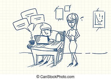 debout, femme, bureau, business, griffonnage, fâché, ouvrier, patron, informatique, lieu travail, portable utilisation
