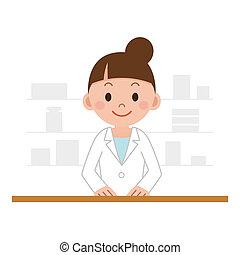 debout, femme, chimiste, pharmacie