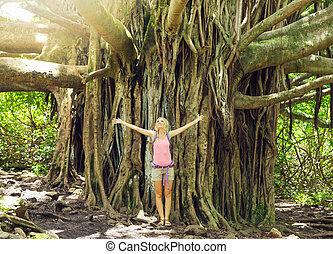 debout, femme, incroyable, arbre, banian, devant