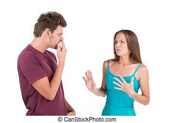 debout, femme, jeune, dégoûté, regarder, doigt, fond, blanc,...