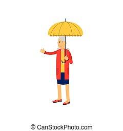 debout, femme, parapluie, illustration, vecteur, jaune, sous, personne agee