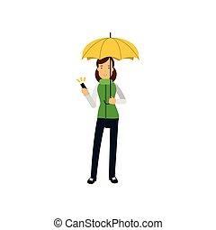 debout, femme, parapluie, jeune, jaune, vecteur, illustration, sous